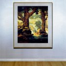 """Cascades"" HUGE Maxfield Parrish Art Deco Print"