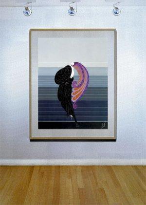 """Beauty and the Beast"" HUGE Art Deco Print by Erte"