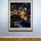 """Good Fishing"" HUGE Maxfield Parrish Art Deco Print"
