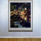 """""""Good Fishing"""" HUGE Maxfield Parrish Art Deco Print"""