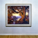 """Riverbank Autumn"" HUGE Maxfield Parrish Art Deco Print"
