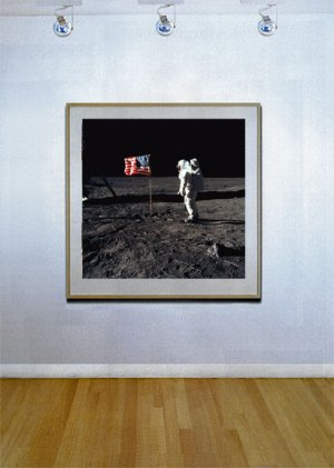 """Astronaut and Flag"" HUGE Art Print of NASA Astronaut"