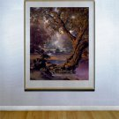 """Autumn Brook"" HUGE Maxfield Parrish Art Deco Print"