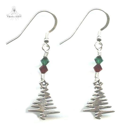 Christmas Tree Earrings - Sterling Silver, Swarovski Crystal