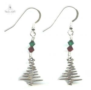 Christmas Tree Earrings - Sterling Silver, Swarovski Crystal