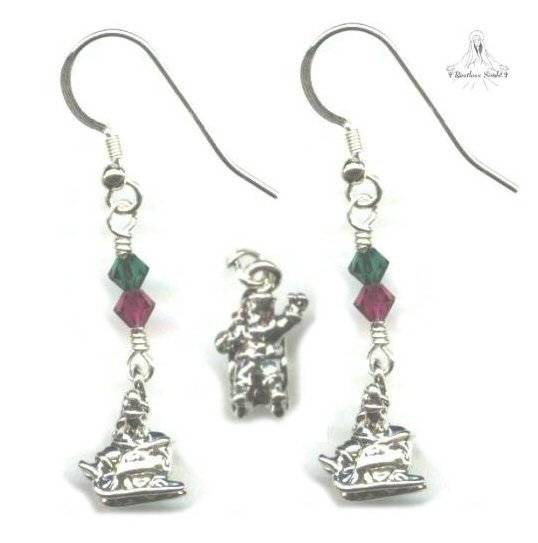 Santa in Sleigh Earrings - Sterling Silver, Swarovski Crystal