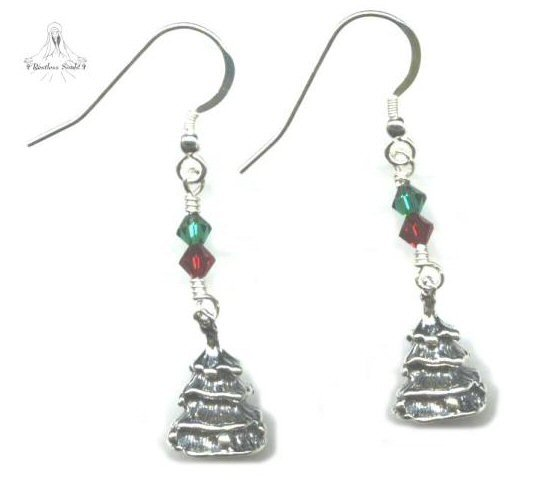 Christmas Tree Earrings - Sterling Silver Swarovski Crystal