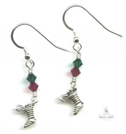 Christmas Stocking Earrings - Sterling Silver, Swarovski Crystal