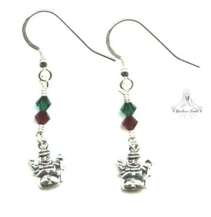 Little Snowman Earrings - Sterling Silver, Swarovski Crystal