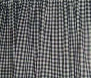 New Window Curtain Valance Made From Black and White Gingham Cotton fabric