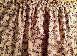 New Window Curtain Valance Made From Tan Grey Sock Monkey Cotton fabric