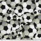 "Black White Window Curtain Valance  Soccer Ball Sports Game Cotton fabric 43""x15"