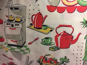 "Retro Vintage Kitchen HaNdMaDe Window Curtain Valance Cotton fabric 43""W x 15""L"