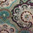 "Brown Teal Blue Gold Paisley  42""W 15""L Window Curtain Valance Cotton fabric"