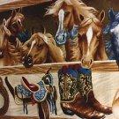 "Western Horse Saddle HaNdMaDe Window Curtain Valance Cotton fabric 43""W x 15""L"