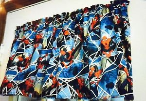 "42"" wide 15"" long Window Curtain Valance Blue Spiderman  fabric"