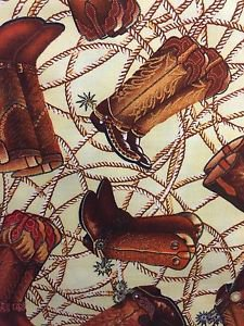 """Brown Cowboy Boots Cowgirl  43"""" W 15""""L Window Curtain Valance Cotton Fabric"""