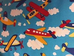 "Kids Baby's Airplane HaNdMaDe Window Curtain Valance Cotton fabric 43""W x 15""L"