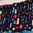 "Black Retro 43"" wide 15"" long Window Curtain Valance  50's Diner Kitchen fabric"