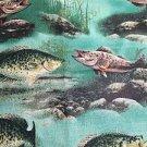 "Green Lake Pond Crappie Fish Window Curtain Valance Cotton fabric 43""W 15""L"