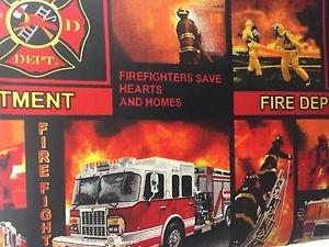 "Fireman Fire Truck HaNdMaDe Window Curtain Valance Cotton fabric 43""W x 15""L"