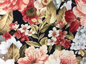 "Peach and Wine Flowers Valance HaNdMaDe Window Topper Cotton fabric 43""W x 15""L"