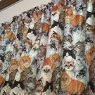 "Grey, Tan Calico Cat Lovers Cats  42""W 15""L Window Curtain Valance Cotton fabric"