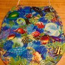 Tropical Blue Ocean Fish Fabric Toilet Season Lid Cover Handmade In The USA