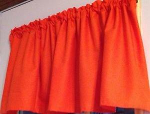 "52""W 15"" L Window Curtain Valance Solid Tangerine Orange Kona cotton fabric"