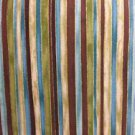 "Brown Blue Gold Stripe  42""W 15""L Window Curtain Valance Cotton fabric"