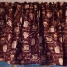 "Brown Coffee Java Cappuccino 43""W 15""L Window Curtain Valance Cotton fabric"
