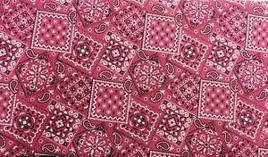 "Pink Bandana Cotton fabric Handmade into Window Curtain Valance 42""wide 15""long"
