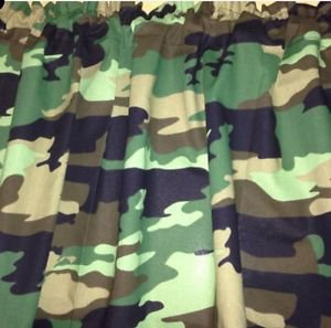 "43"" wide 15"" long Window Curtain Valance Black Green Camo Camouflage fabric"