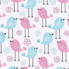 "Pink Blue Baby Birds  HaNdMaDe Window Curtain Valance Cotton fabric 43""Wx15""L"