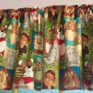 "Baby Elephant Monkey Giraffe 42""W 15""L Window Curtain Valance Cotton fabric"