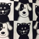 "Black White Dogs Cats Valance HaNdMaDe Window Topper Cotton fabric 43""W x 15""L"