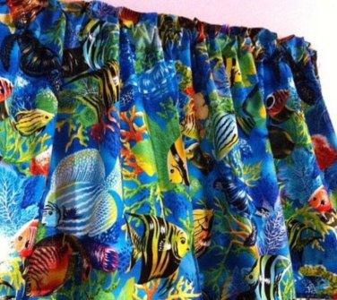 "Valance Topper Tropical Blue Sea Ocean Fish 43""W x 15""L Cotton  Fabric"