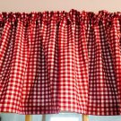 "Red White Gingham Print On White Fabric Curtain Valance Cotton 43""W x 15""L"