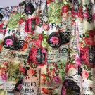 "Roses and Paris Curtain Valance Window Topper Cotton fabric 43""W x 15""L"