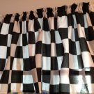 "50's Diner Valance Black White Checkered 42""W X 15""L Window Curtain Topper"