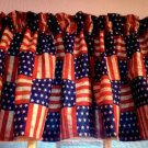 "Red Blue Handmade Window Curtain Valance 43""wide 15"" long American Flag  fabric"