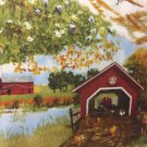 "Red Tractor Barn Dogs Valance HaNdMaDe Window Topper Cotton fabric 43""W x 15""L"