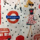"London Shopping Girl Valance HaNdMaDe Window Topper Cotton fabric 43""W x 15""L"