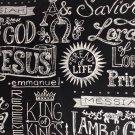 "Jesus Names Chalkboard  42""W 15""L Window Curtain Valance Cotton fabric"