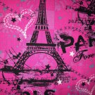 "Valance Topper Pink Paris Forever Cotton Fabric HandMade Into 42""W 15""L"