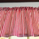"Circus Red White Stripes Valance HaNdMaDe Window Topper Cotton fabric 43""W x15""L"