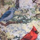 "Red Cardinal Bluebird HaNdMaDe Cotton fabric Window Curtain Valance 42""W 15""L"