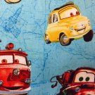 "Blue Disney Cars Valance HaNdMaDe Window Topper Cotton fabric 43""W x 15""L"