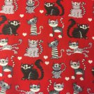 "Crazy Cats on Red Valance HaNdMaDe Window Topper Cotton fabric 43""W x 15""L"