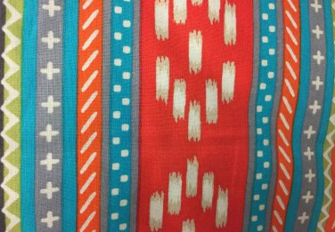 "Valance Topper Grey Coral Aztec HaNdMaDe Window  Cotton fabric 43""W x 15""L"